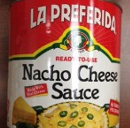 Cheese sauce, nacho, canned, 6/10